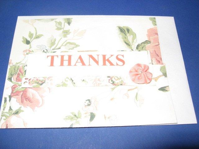 Thanks pink flower handmade Greeting Card T15