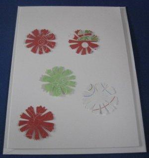 Stripes and pinwheels handmade greeting card M11