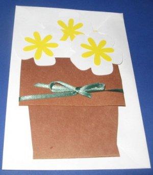 Flower Pot Birthday Handmade Greeting Card B12