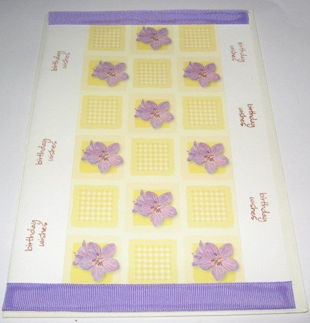Birthday Wishes Violets purple Handmade Greeting Card B19