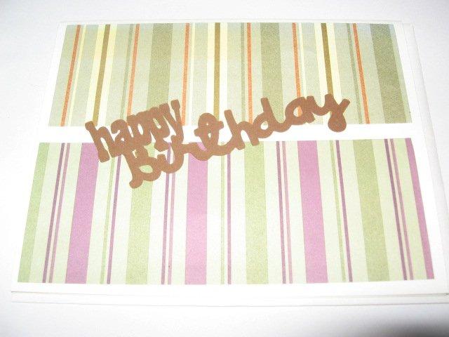 Happy Birthday  striped  Handmade Greeting Card B23
