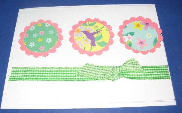 Happy Birthday flowers and bird  Handmade Greeting Card B24