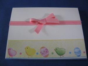 Easter Eggs and chick handmade Easter card E1