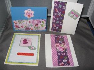 Butterflies and flowers handmade greeting card assortment lot of 4 A22