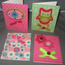 Owl and flowers handmade greeting card assortment lot of 4 A24