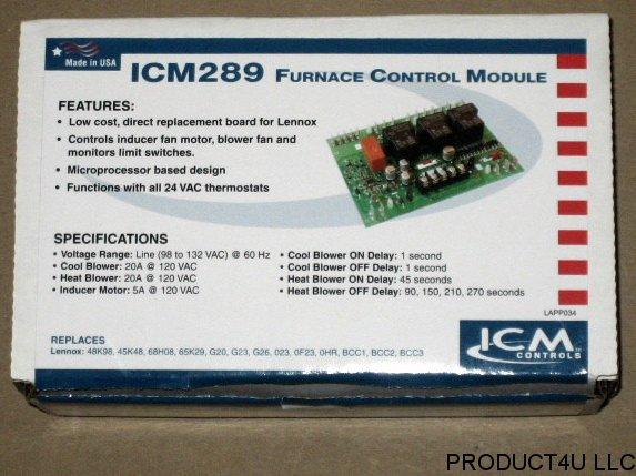 ICM289 FURNACE CONTROL MODULE Replacement Lennox BCC1 BCC2 BCC3 48K98 45K48