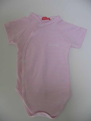 SUCETTE Antimicrobial Cotton Short sleeved Bodysuit- 6M, Rose. Imported.