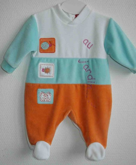 JARDIN Long sleeved, covered toe bodysuit- 6M, Imported from France, FREE SHIPPING