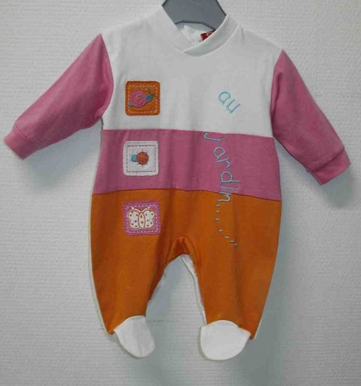 JARDIN Long sleeved, covered toe velour bodysuit- 6M, Imported from France, FREE SHIPPING