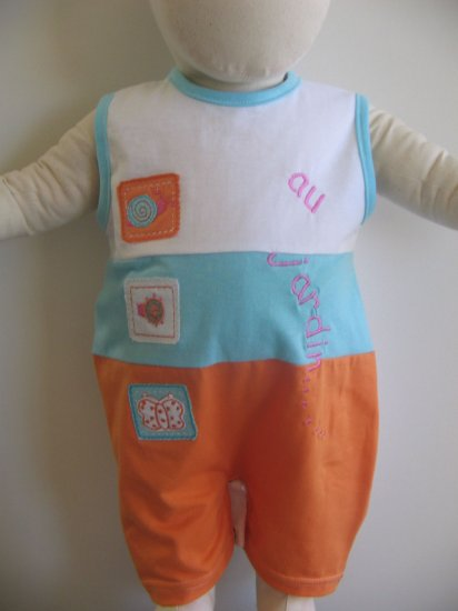 End of Summer SALE item- JARDIN onesies- 6M, Imported from France, FREE SHIPPING