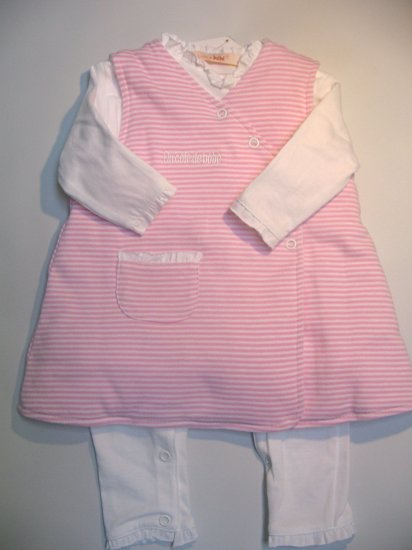 SUCETTE Antimicrobial Cotton Body suit and Dress Set- 3M, Rose. Imported.