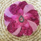 Pink flower with tropical print and flamingo charm