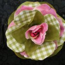 Olive green & pinkish rose w/ olive green gingham print