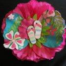 Pink flower w/ tropical print & flip flops center