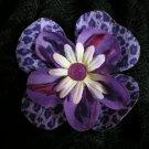 Lavender flower w/ purple leopard print & purple button center