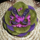 Olive green flower w/ plum & green fabrics & beaded center