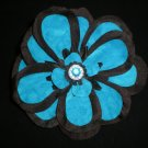 Black flower w/ deep turquoise fabric & rhinestone center
