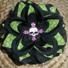 Black rose w/ lime green fabric & skull & cross