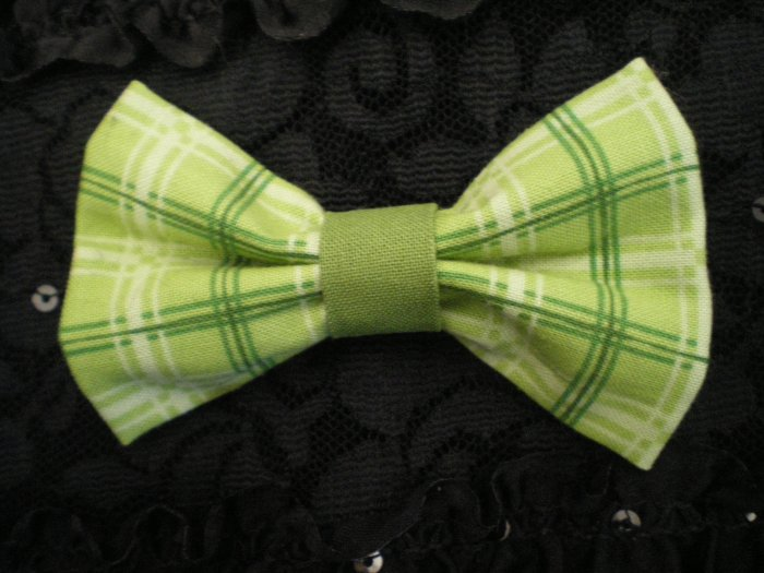 Lime green plaid bow