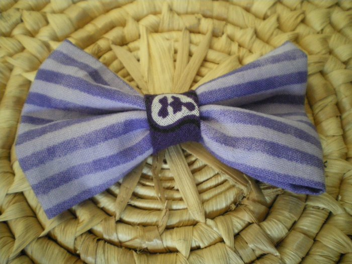 Purple striped bow