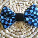Blue & black checked bow