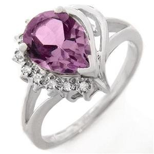Diamond and Amethyst ring set in 14K WhiteGold