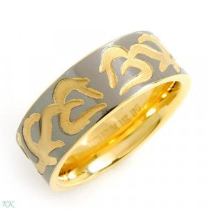 Elegant and Beautiful Gents Ring in 18K Gold plated Titanium - Size 10.5