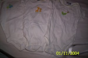3 Carter's White (Unisex) Newborn 5-7lbs Onesies