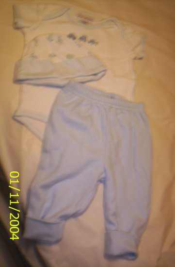 Just One Year Blue and White 3 Piece Outfits0-3 M 8-11lbs