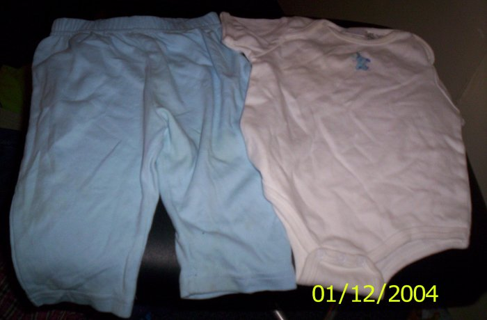 Bright Future Pants and Onesie OutFit 6-9 Months Blue and White