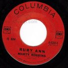 COLUMBIA MARTY ROBBINS 42614 Ruby Ann/Wont You Forgive