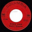 COLUMBIA MARTY ROBBINS 42614 Ruby Ann/Won't You Forgive