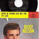 IMPERIAL 5565 45+ PS RICKY NELSON Never Be Anyone Else