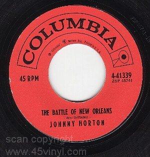 COLUMBIA 41339 45 + PS JOHNNY HORTON Battle New Orleans
