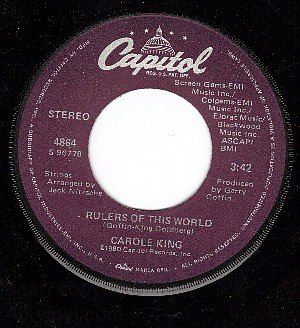 45 NM CAPITOL 4864 CAROLE KING Rulers Of This World/Day