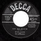 DECCA 9-28583 45 DICK TODD Let Me Know ~ Bumming Around