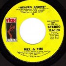 NM PROMO STAX 45 STA-0160 ~ MEL & TIM ~ Heaven Knows