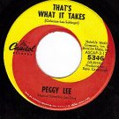 CAPITOL 5346 PEGGY LEE Thats What It Takes ~ Pass Me By
