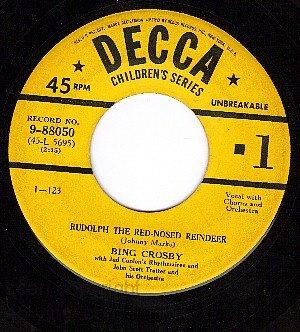 NM DECCA 9-88050 BING CROSBY Rudolph Red Nosed Reindeer