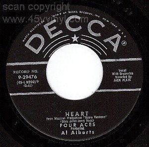 VG++ DECCA 45 9-29476 FOUR ACES/ALBERT Heart ~ Sluefoot