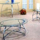 Chrome round coffee table with glass top 7442