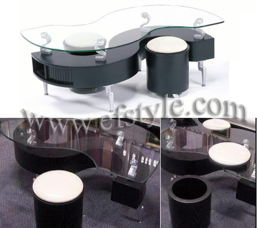 S Shape Coffee Table Set w/2 stools and storages / Pandor(black)