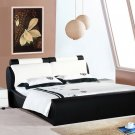 Louis Modern black & white leather Platform Bed (Queen size)