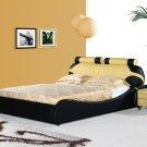 Yukatan Modern Leather Black & orange platform bed (Queen size)