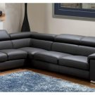 Angel Dark Grey Italian Leather Sectional Sofa