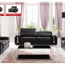 Black Modern Living Room Set Leather