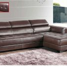 Brown Sectional 8011 in Full Leather with Adjustable Headrests