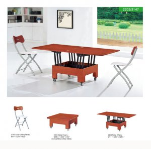 Convertable Modern 5Pc Dining Set with Folding Chairs