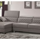 Grey Full Italian Leather for Contemporary Living Room