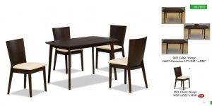 Hardwood Cappuccino Finished Dining Room Set with Extendible Top